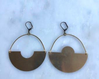 Figura Brass Shield Earrings
