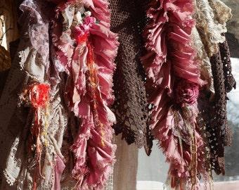 "Stole ""French Seduction"", crochet mesh, metallic wool, Art to wear, Unique and feminine, Boho shawl"