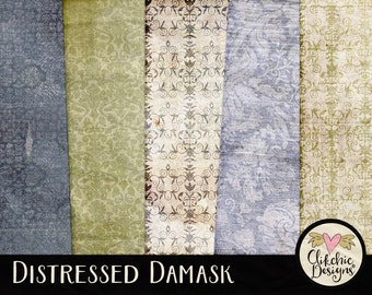 Damask Digital Paper Pack - Distressed Digital Scrapbook Paper - Damask Texture Backgrounds - Digital Scrapbooking Damask Paper Pack