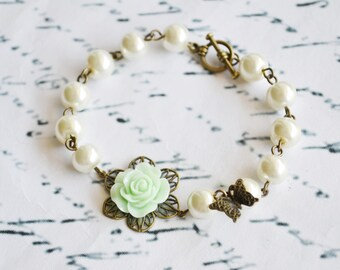Mint Flower and Pearl Butterfly Bracelet,Flower Girl Gifts,Bridesmaids Gift,Baby Girl Gift, Flower Girl,Shabby Chic,Wedding Accessories
