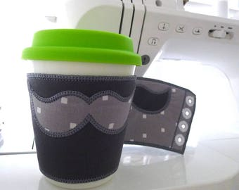 "Coffee Cup Sleeve with Mustache In The Hoop Project Machine Embroidery Design Applique Patterns all done ITH 2 sizes 7"" and 10"" Reusable"