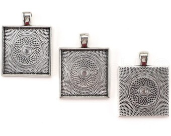 "20 Pk - 1"" Square Pendant Trays - Antique Silver Color - Pendant Blanks Bezel Settings Craft Custom Jewelry -  25mm 1 Inch"