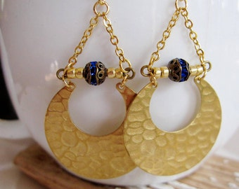Crescent earrings, Hammered Brass, Sapphire Blue, Crescent Moon, Triangle, geometric Jewelry, Modern style, Everyday Wear