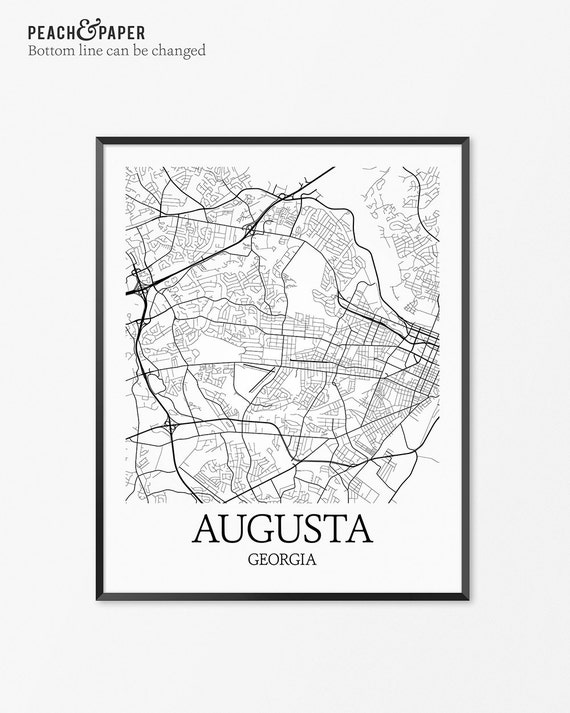 Augusta Map Art Print Augusta Poster Map of Augusta Decor