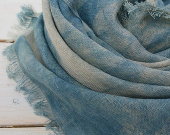 Hand dyed indigo shibori linen cotton scarf for spring summer perfect men and woman
