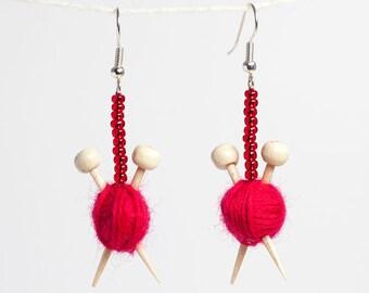 Red Ear Knits - Yarn ball earrings