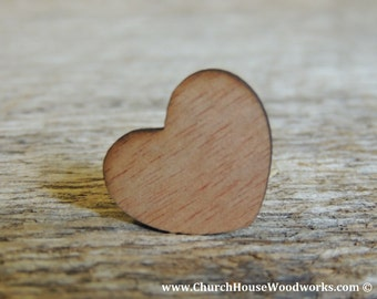 """100 BLANK 1"""" Dark Wood Hearts, Wood Confetti Engraved Love Hearts- Rustic Wedding Decor- Table Decorations- Small Wooden Hearts"""
