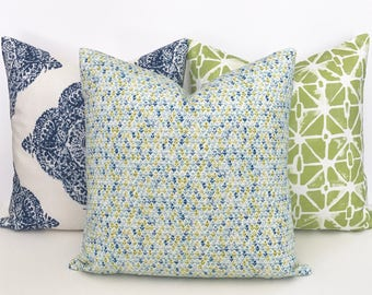Amar Green, aqua and navy blue small floral block print decorative throw pillow cover