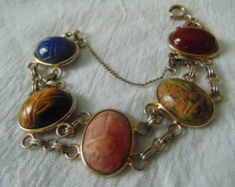 vintage gold filled scarab bracelet semi precious stoned egyptian jewelry