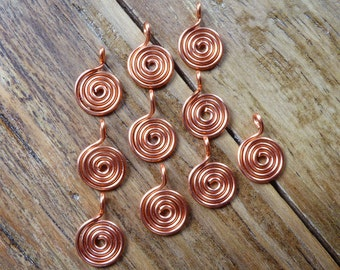 10 copper spiral charms or dangles for jewelry making, hand crafted copper wire spirals, swirl dangles in 20ga wire.