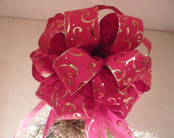 Large Christmas Tree topper red with shiny gold swirls