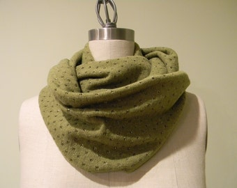 Olive With Metallic Strip Infinity Scarf, Knit Fabric Scarf, Loop, Cowl