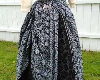 1800s Victorian Dress  1880s Bustle Dress  1886 Bustle Evening Gown  Black Ball Gown - Black Widow Dress  Gothic Wedding Black Bridal Gown