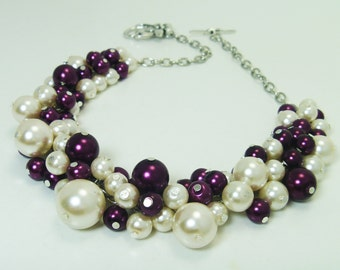 Ivory and Plum/ Burgandy Cluster Necklace, Bridal Jewelry, Bridal Necklace, Bridesmaids Necklace, Chunky Pearl Necklace, Wedding Necklace.