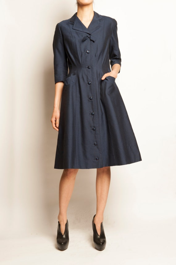 60's navy wool a-line coat dress