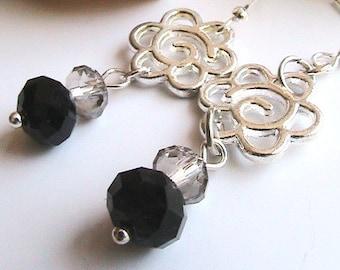 Flower Beaded Earrings, Silver Flower Earrings, Colorful Dangle Earrings, Silver Floral Dangle Earrings, Black Earrings