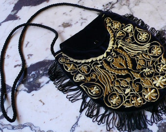 Velvet Fringed Evening BAG Navy with Gold Embroidery