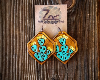 Leather Prickly Pear Earrings