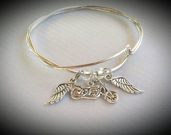 Biker Jewelry,For Harley Davidson Lovers(Inspired), Biker Bracelet, Harley Bracelet (Inspired), Bangle Charm Silver
