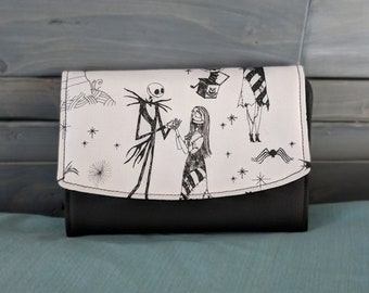 Nightmare Before Christmas Boon Wallet Jack Skellington and Sally Black and White