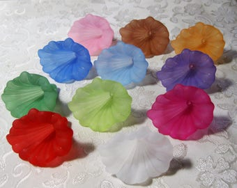 Frosted Calla Lily Extra Large Lucite Acrylic Flower Bead Choose Your Colors 402
