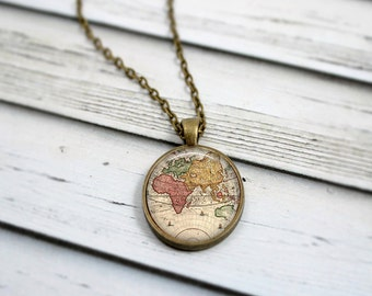 Old gypsy necklace etsy world map necklace antique map necklace wanderlust jewelry globe necklace traveler gift gumiabroncs Gallery
