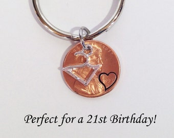 21st Birthday, Personalized 21st Birthday Gift, 21st Birthday Gift, 21 Gift Keychain, Penny Keychain, 21st Birthday Party Gift, Lucky Penny