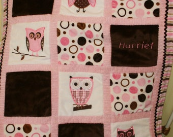 "Appliqued Owl Minky Baby Blanket "" Whoo Loves You"""