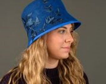 Royal Blue Cloche Hat  with leaves