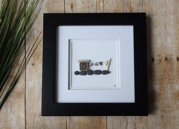 hnliche artikel wie w scheleine meer keramik bilderrahmen kiesel kunst bild meer glaskunst. Black Bedroom Furniture Sets. Home Design Ideas