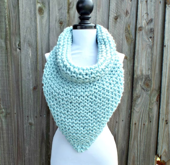 Womens Oversized Bandana Knit Cowl Glacier Pale Blue Scarf - Blue Cowl Chunky Scarf Womens Accessories Fall Fashion Winter Scarf