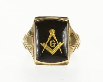 10k Masonic Compass Square Symbol Inlay Black Onyx Ring Gold