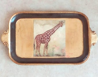 Small Gilded Papier Mache Serving Tray Giraffe Inset