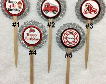 Set Of 12 Personalized Fireman 4th Birthday Party  Cupcake Toppers (Your Choice Of Any 12)