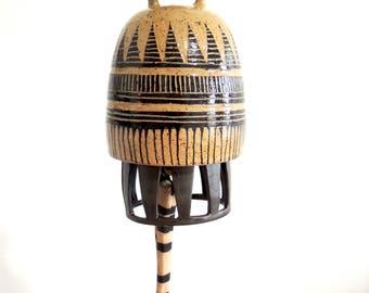 Tan and black ceramic windchime, ceramic bell, wind chime