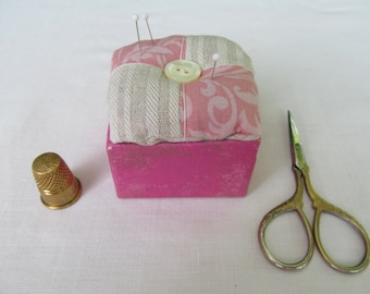 Pink and off white pin cushion or pin keeper