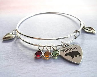 Mama bear Bracelet, personalized bracelet for mom, family tree bracelet, personalized gift mom gift, mama bear jewelry, birthstone bracelet