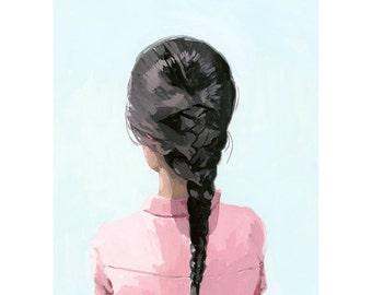 """5x7"""" hair art - braid print - """"Braid 6"""" giclee print"""