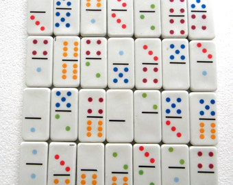 28 Colorful Domino Tile Set for Jewelry, Altered Art, Collage, Scrapbooking or Mosaics