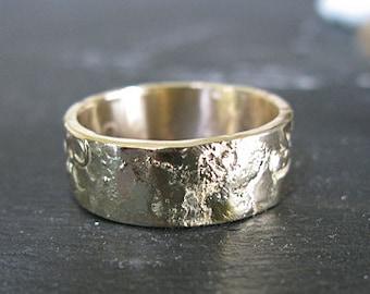Gold on Gold Mens Wedding Band Mens Wedding Ring Rustic Mens Wedding Rings 14K yellow gold Unique Mens Wedding Band Viking Wedding Ring
