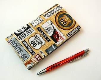 Route 66 Fabric Checkbook Cover with Pen Holder Duplicate Checkbook Holder with Historic America's Highway Collage Fabric Checkbook Register