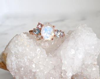 Moonstone Ring, Moonstone Engagement, Birthstone Ring, Unique Engagement Ring, Unique Wedding Ring, Modern Engagement Ring, Cluster Ring