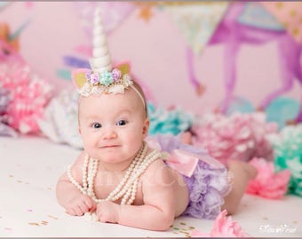 Lace Newborn Ruffled Baby Bloomers Diaper Cover Headband Set !!!