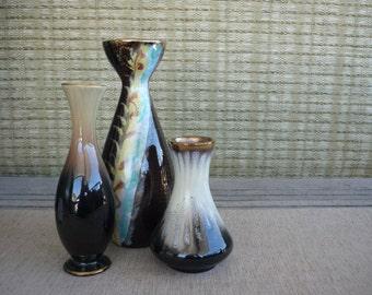 Set of 3 Vintage West German Pottery Vases, Instant Collection, Ceramic Vases, Mid Century Decor