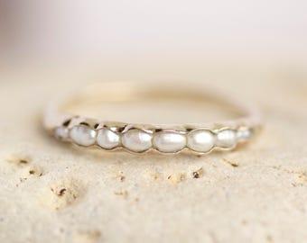 Pearl Ring. Pearl Band. Pearl Band Ring. Freshwater Pearl Ring. White Freshwater Pearl Band Ring.