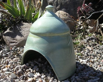Handmade Toad House , Ceramic Toad House , Fairy Garden Hut , Toad Abode , Pottery Fairy House , Whimsical Garden Decoration !