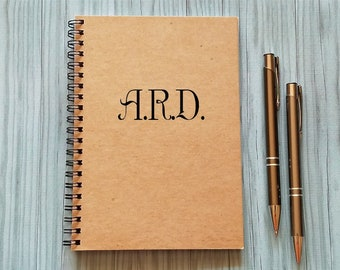 Notebook with Your Initials - 5 x 7 Journal, Diary Journal, Notebook, Monogram, Initials, Personalized Journal