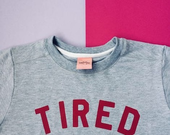 TIRED Jumper | Grey and Berry