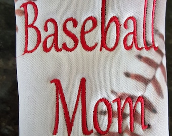 Beer Can Cozie or Water Bottle Cozie - Baseball Mom