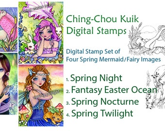 Digital Stamp Spring Mermaid & Fairy Set of 4 Images - Instant Download / Bird Cat Easter Bunny Fantasy Girl by Ching-Chou Kuik